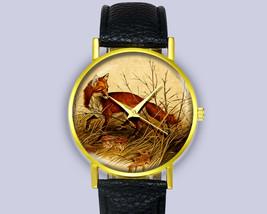 Lovely Fox Art Illustration Vintage Leather Watch Unisex Fashion Gift Ideas - $12.50