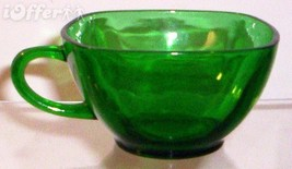 1950 RETRO ANCHOR HOCKING/FIRE KING CHARM FOREST GREEN CUP - $6.95