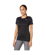 Nike Women's Dry Legend Crew Neck Training Top, Black/White, XL - $22.05