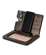 Executive Wood Docking Station with Valet, Watch Storage and Charging St... - $34.95