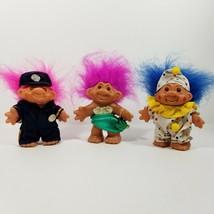 Vintage 1986 DAM Troll Set Police officer, Clown & Mermaid Super Cute!! - $27.80