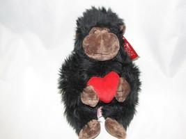 "RUSS BLACK GORILLA HEART STUFFED PLUSH NAMED CHASE 9"" - $15.83"
