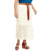 Faded Glory Women's Knit Lace Maxi Skirt Tusk Color Size 4X 26-28W NEW - $19.79