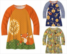 NWT Sunshine Swing Girls Fox Woodland Animals Fall Long Sleeve Raglan Dress - $12.99
