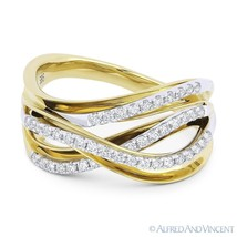 0.35ct Round Diamond Right-Hand Overlap Loop Fashion Ring 14k Yellow Whi... - €933,60 EUR