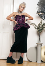 80s vintage velvet peplum party dress - $51.56