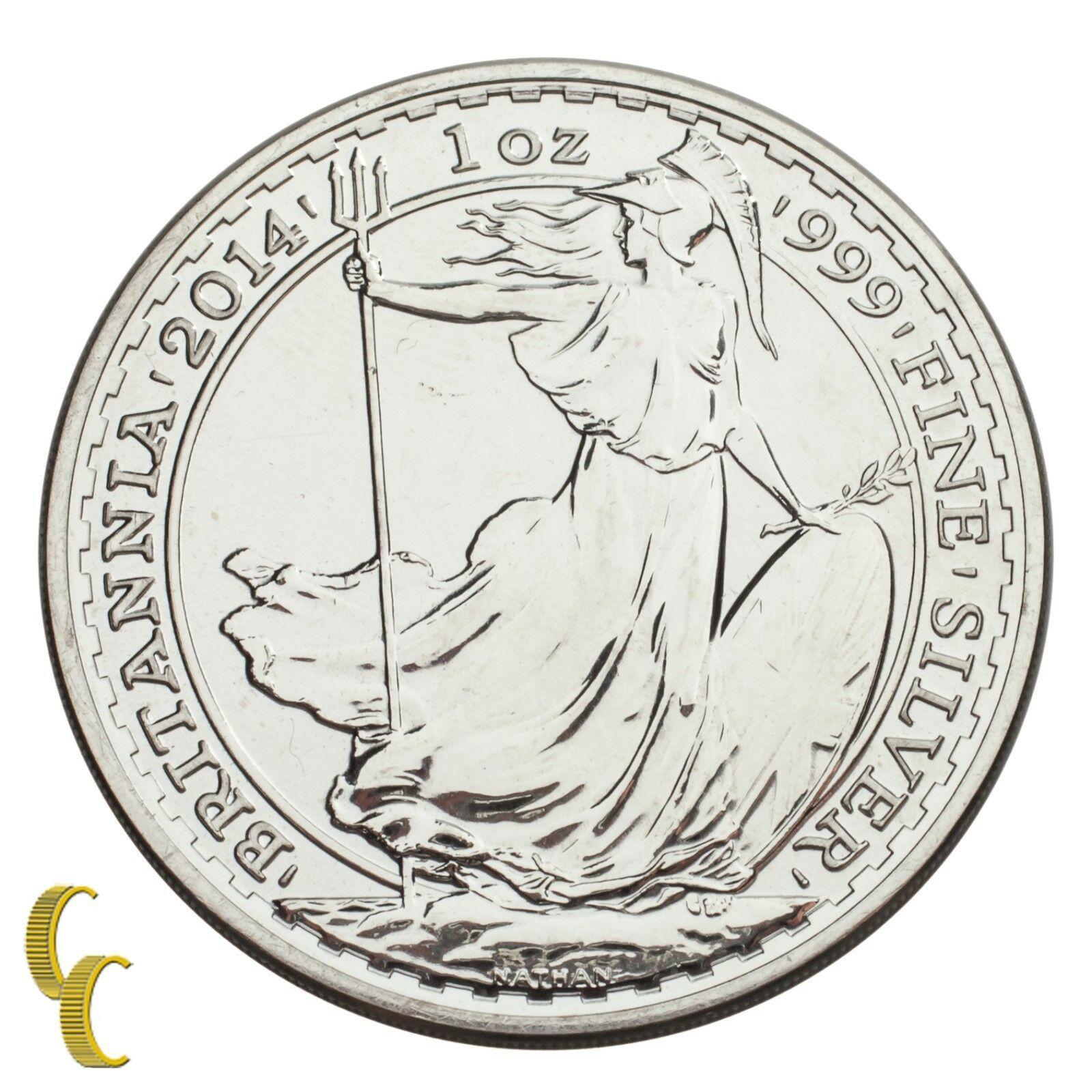 2014 Gran Bretagna Britannia Argento 2 Pound 1 Oncia (Bu ) Brillante UNC