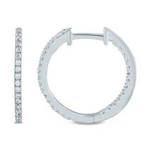 1/2 Carat Round Cut D/VVS1 Diamond Hoop Earrings In 14K White Gold Plated - $165.47 CAD
