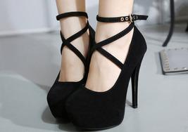 84h055 elegant crossed strappy ankle pumps, Size 4-10, black - $42.80