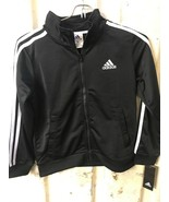 Adidas Youth Iconic Tricot Jacket, Black With White Stripes Size:16-18 - $19.24