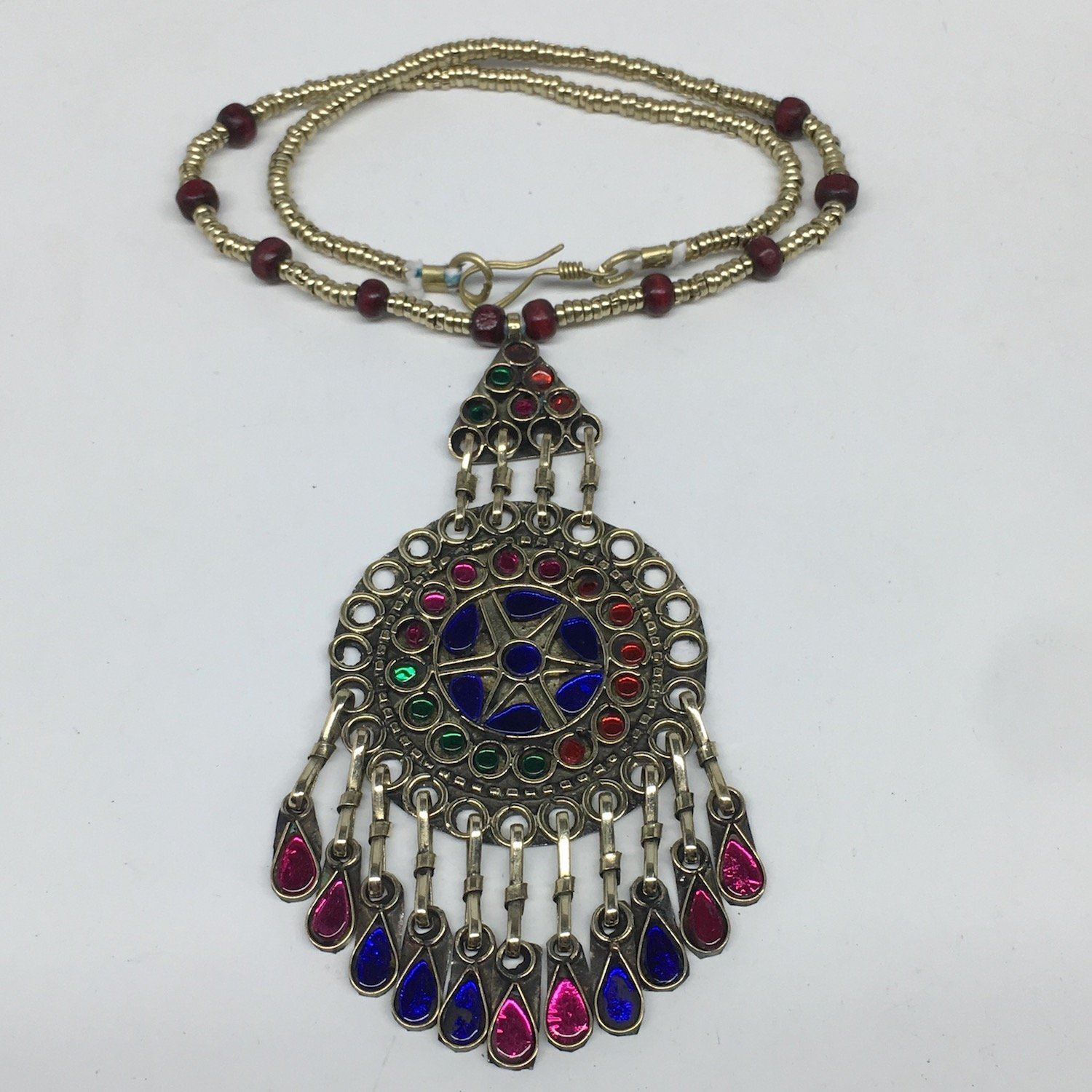 Kuchi Necklace Afghan Tribal Fashion Colorful Glass ATS Necktie Necklace, KN434