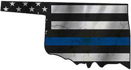 Thin Blue Line Police State of  Oklahoma Laser CutOut Metal Sign 17Wx9H - $25.74