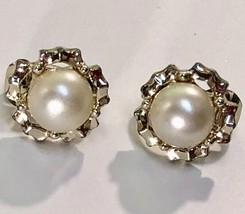 VTG Clip On Earrings SARAH COVENTRY 60s Pearl Cab Fancy Silver Tone Sett... - $13.30