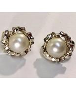 VTG Clip On Earrings SARAH COVENTRY 60s Pearl Cab Fancy Silver Tone Sett... - $13.30