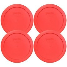 """Pyrex 6.5"""" 4 Cup Lid Fit 5-3/4"""" Diameter Glass Bowls Round Red Plastic 4... - $13.56"""
