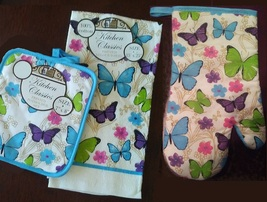BUTTERFLY KITCHEN SET 3pc Oven Mitt Towel Potholder Blue Butterflies Flo... - $11.99