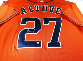 JOSE ALTUVE / AUTOGRAPHED HOUSTON ASTROS ORANGE PRO STYLE BASEBALL JERSEY / COA image 1