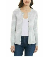 Jones New York Ladies Button up Cardigan Sweater Lt Stripe  Gray Sz 2XL - $15.63
