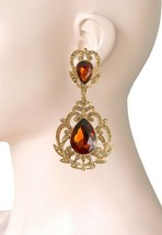 "3.5"" Long Victorian Vintage Inspired Brown Crystal Evening Clip On Earrings - $20.90"