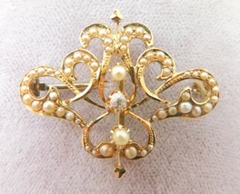14k Gold Watch Pin with Diamond and Seed Pearls (#J3823) - $335.75