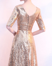 Women Long Sequin Dress Outfit Half Sleeve Wedding Gold Sequin Dress Plus Size image 6
