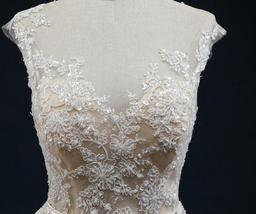 Court Train A-Line Applique Beaded Sheer Lace Tulle Wedding Gown image 6