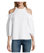 Womens Sexy White Cold Shoulder Scoop Neck Blouse Top L-8 10 Party! - $12.60