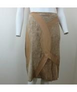 Vintage 80s Margaret Godfrey Mixed Leather Crinkled Suede Skirt Size 12 ... - $49.45