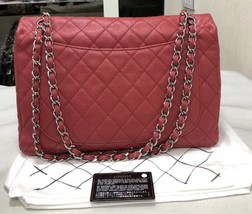 AUTHENTIC CHANEL MAXI RED PINK QUILTED SOFT CAVIAR CLASSIC FLAP BAG SHW image 2