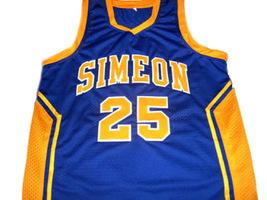 Derrick Rose #25 Simeon High School Men Basketball Jersey Blue Any Size image 4