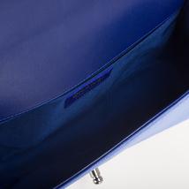 AUTHENTIC CHANEL ROYAL BLUE QUILTED VELVET MEDIUM BOY FLAP BAG SHW image 10