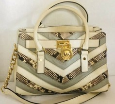 Michael Kors Hamilton Chevron Ecru Natural Python Leather Satchel Bag Me... - $126.23