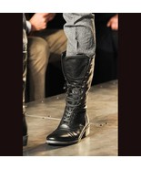 Handmade Bespoke Black Military Style Leather long Boots  - $159.97+
