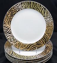 Studio Nova Jungle Beat * 6 DINNER PLATES * Leopard Tiger Print, Good Co... - $74.24