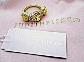 JUDITH RIPKA 14k Gold Plated SS 3 Canary Crystal DMQ Ring Sz 6 JR Pink P... - $159.95