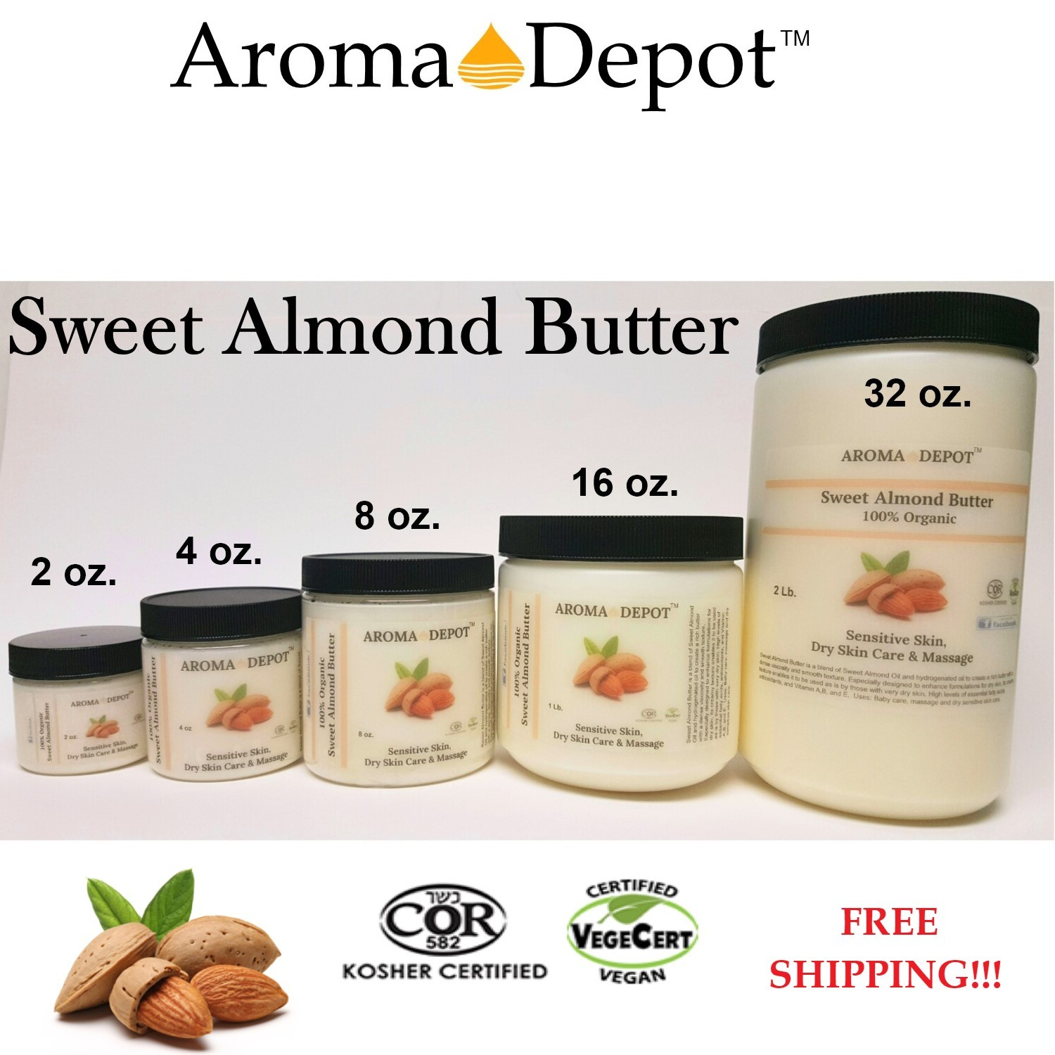 100% Organic Butter Pure Raw Fresh Natural 2 oz to 2Lb Sweet Almond Cold Pressed