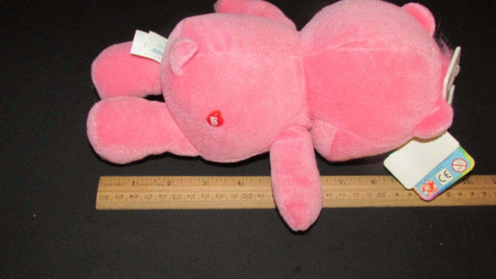 "Care Bears Love a Lot pink 2 hearts tummy plush w/ tags 10"" 2002 TCFC"