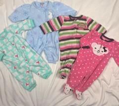 Carters Fleece Blanket Sleeper Pajamas + Romper Playwear Lot Baby Girls ... - $33.59