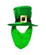St Patricks Day Costume Green Leprechaun Top Hat And Beard Irish Green NEW - £10.53 GBP