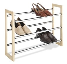 Stackable Expandable Wood Chrome Shoe Rack Entry Hallway Organizer Bedroom  - $28.01