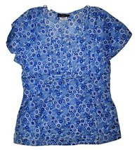 Los Angeles Rose Women's Pin Tucked Bodice Blue Floral Scrub Top Large  NWT - $24.99