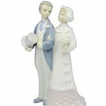 Lladro figurine vtg nao sculpture Spain porcelain 1977 wedding bride groom 4808 - $120.77