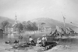 CANADA Ottawa River Lake of Two Mountains - 1840s Engraving Print by BAR... - $16.83