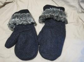 Handmade Recycled Wool Fleece Lined Mittens Black w Fur  Ladies/Teens Si... - $18.81