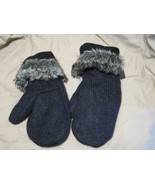 Handmade Recycled Wool Fleece Lined Mittens Black w Fur  Ladies/Teens Si... - $18.81