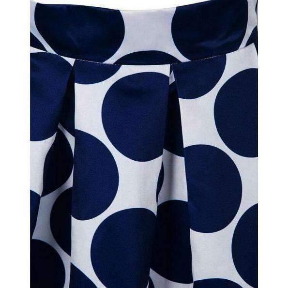 Polka Dot Print Pleated Women High Waist Maxi Skirt