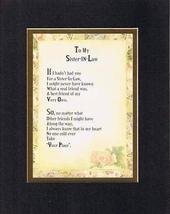 Touching and Heartfelt Poem for Sisters - To My Sister-in-Law Poem on 11... - $15.79