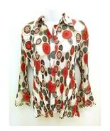 Essentials by Milano Womens Sz Medium Blouse Accordion Paisley 3/4 Sleev... - $12.99