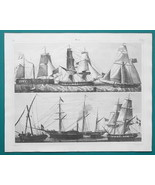 SHIPS Gun Boats Steam Propeller War Cutter Brig - 1844 Superb Print - $25.20