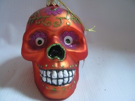 Glass Sugar Skull    ORNAMENT   Day of the Dead Orange Floral decoration - $15.83
